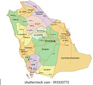 Saudi Arabia - Highly detailed editable political map with labeling.