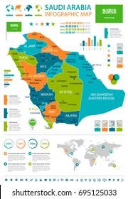 Saudi Arabia infographic map and flag - vector illustration