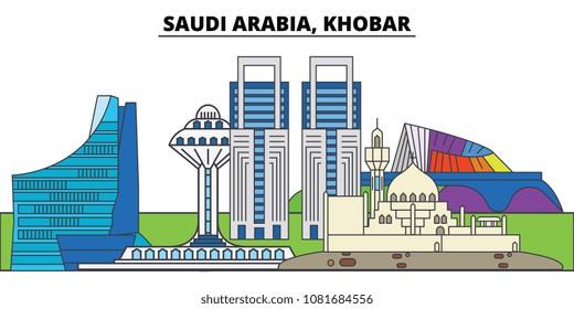 Saudi Arabia, Khobar. City skyline, architecture, buildings, streets, silhouette, landscape, panorama, landmarks. Editable strokes. Flat design line vector illustration concept. Isolated icons