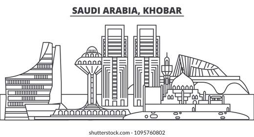 Saudi Arabia, Khobar line skyline vector illustration. Saudi Arabia, Khobar linear cityscape with famous landmarks, city sights, vector landscape.