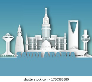 Saudi arabia Landmark Global Travel And Journey paper background. Vector Design Template.used for your advertisement, book, banner, template, travel business or presentation.