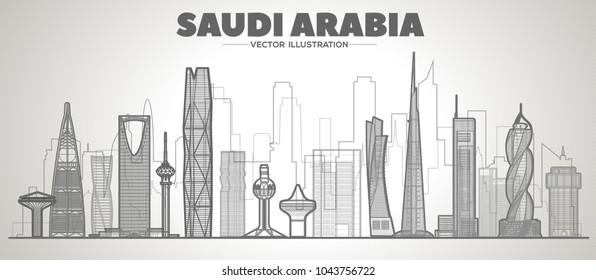 Saudi Arabia line skyline. Vector illustration.
