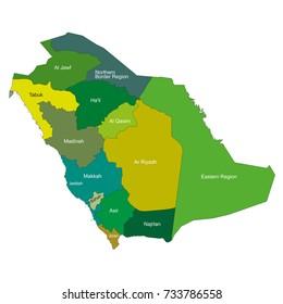 Saudi Arabia map with cities name in English