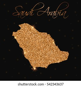 Saudi Arabia map filled with golden glitter. Luxurious golden glitter map of Saudi Arabia with golden glitter texture, sparkles and stars. Vector illustration.