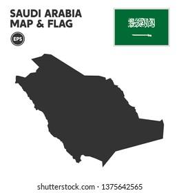Saudi Arabia map with Saudi Arabia flag