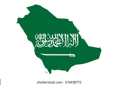Saudi Arabia Map and Flag Vector