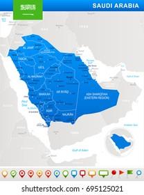 Saudi Arabia map and flag - vector illustration