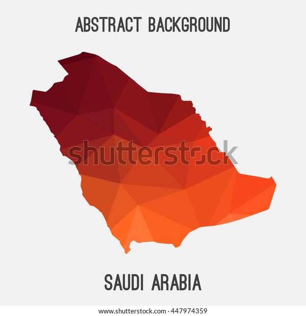 Saudi Arabia map in geometric polygonal,mosaic style.Abstract tessellation,modern design background. Vector illustration EPS8