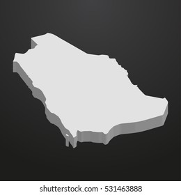 Saudi Arabia map in gray on a black background 3d