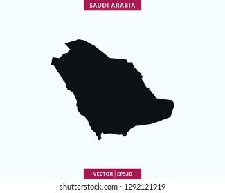 Saudi Arabia Map. High Detailed Silhouette Map - Vector.