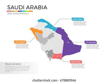 Saudi Arabia map infographics vector template with regions and pointer marks