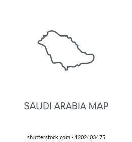 Saudi Arabia map linear icon. Saudi Arabia map concept stroke symbol design. Thin graphic elements vector illustration, outline pattern on a white background, eps 10.
