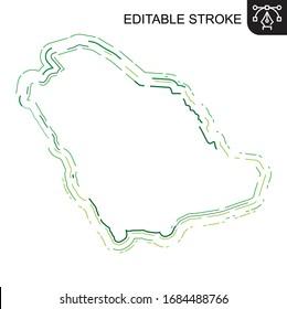 Saudi Arabia map Lines, KSA map Stroke, Riyadh, editable stroke, editable line