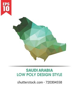 SAUDI ARABIA MAP IN LOW POLY