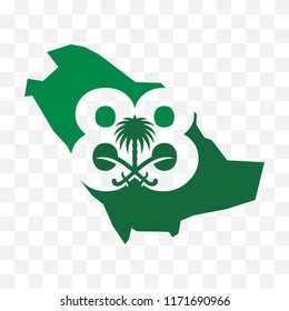 Saudi Arabia Map. Saudi National Day. 88. 23rd September. Vector Illustration. Eps 10.