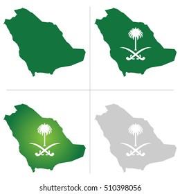 Saudi Arabia Map and National Logo