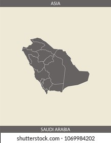Saudi Arabia map outline vector illustration with borders of states or provinces or counties in gray background. A creative map of Saudi Arabia with its continent name, Asia, for educational purposes