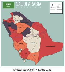 Saudi Arabia map with selectable territories. Vector illustration
