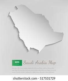 Saudi Arabia map with shadow effect. Vector