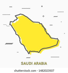 Saudi Arabia map in thin line style with small geometric figures. Vector illustration modern concept