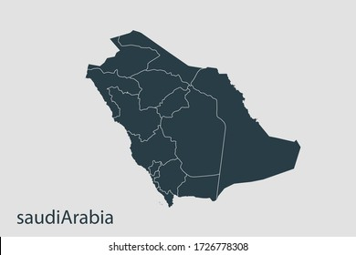 Saudi Arabia map vector, Abstract design vector illustration Eps 10. Navy color.High Detailed on white background.