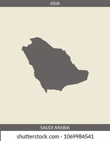 Saudi Arabia map vector outline illustration in gray background. A creative map of Saudi Arabia with its continent name, Asia, for educational purposes