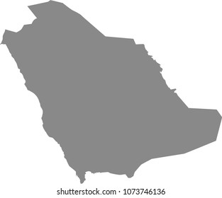 Saudi Arabia map vector outline illustration gray background. Highly detailed accurate map of Saudi Arabia prepared by a map expert.