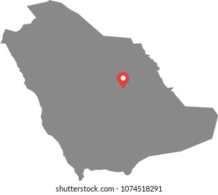 Saudi Arabia map vector outline illustration with capital location, Riyadh, in gray background. Highly detailed accurate map of Saudi Arabia prepared by a map expert.