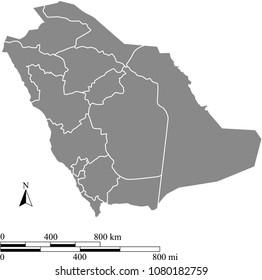 Saudi Arabia map vector outline with scales of miles and kilometers and borders of provinces in gray background. Saudi Arabia map with mileage and kilometer scales