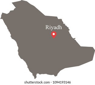 Saudi Arabia map vector outline illustration with capital location and name, Riyadh, in gray background. The borders of provinces or states are not included on this map for aesthetic appeal.