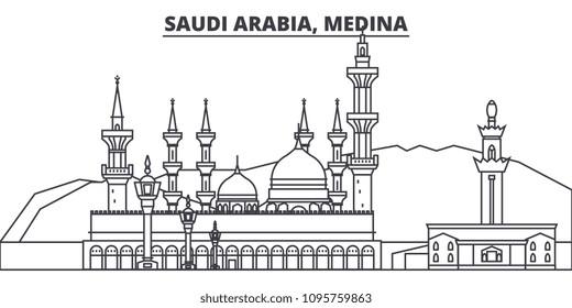 Saudi Arabia, Medina line skyline vector illustration. Saudi Arabia, Medina linear cityscape with famous landmarks, city sights, vector landscape.