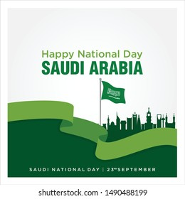 Saudi Arabia National Day. Arabic Translation: There is no god but God and Muhammad is the messenger of God. 23rd September. KSA Flag. Greeting Illustration. Vector Icon.