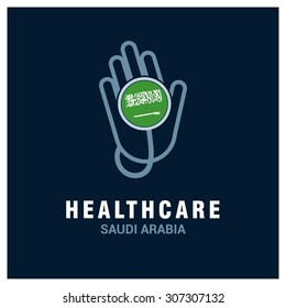 Saudi Arabia National flag on stethoscope - Health care logo - Medical Logo - specialist doctors in Country - Hospital Clinic Logo - Helping Hand Logo - Charity Help Vector illustration