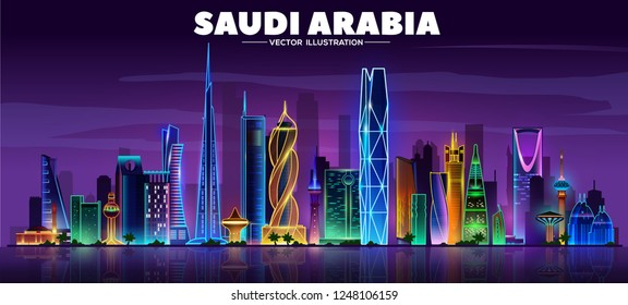Saudi Arabia night skyline on a black background. Flat vector illustration. Business travel and tourism concept with modern buildings. Image for banner or web site.