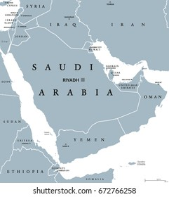 Arab countries map stock images royalty free images vectors saudi arabia political map with capital riyadh kingdom and arab state in western asia and gumiabroncs Image collections