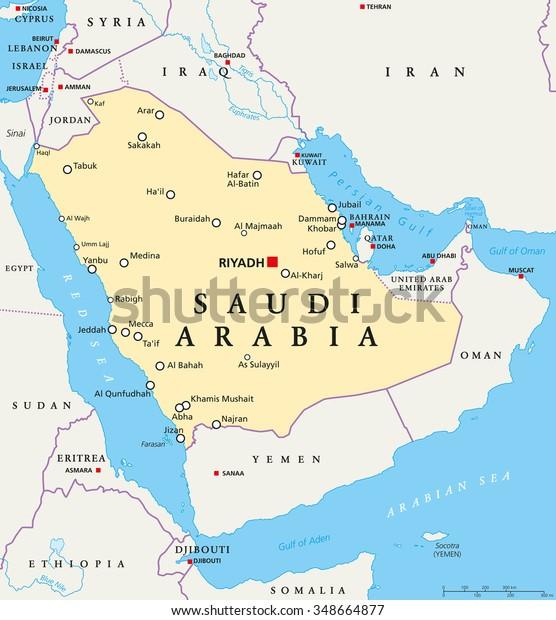 Saudi Arabia Poliittinen Kartta Paakaupunki Riad Kansalliset