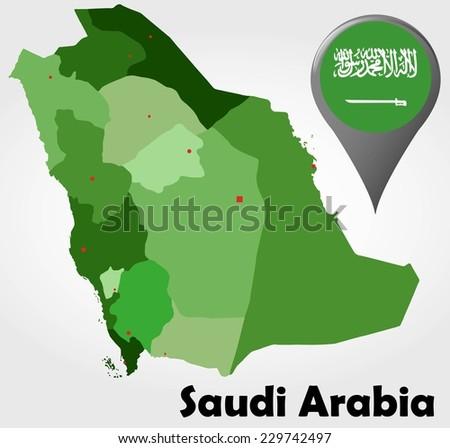 Saudi Arabia Political Map Green Shades Stock Vector (Royalty Free ...
