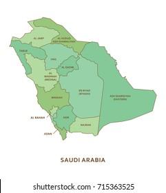 Saudi Arabia regions, vector geography background