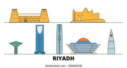 Saudi Arabia, Riyadh  flat landmarks vector illustration. Saudi Arabia, Riyadh  line city with famous travel sights, skyline, design.