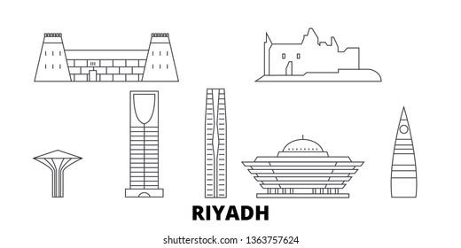 Saudi Arabia, Riyadh  line travel skyline set. Saudi Arabia, Riyadh  outline city vector illustration, symbol, travel sights, landmarks.