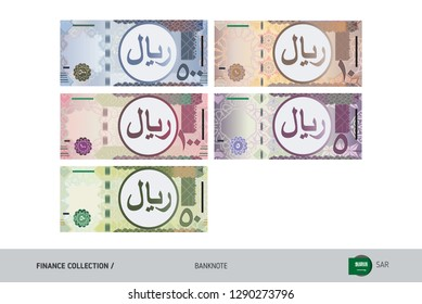 Saudi Arabia Riyal Banknotes set. Flat style highly detailed vector illustration. Isolated on white background. Suitable for print materials, web design, mobile app and infographics.