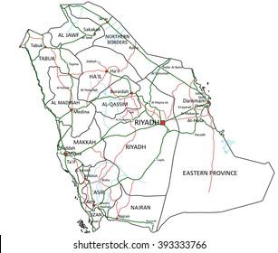 Saudi Arabia road and highway map. Vector illustration.
