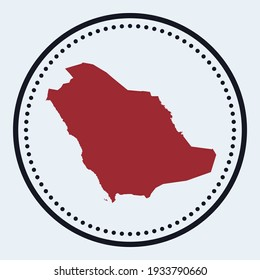 Saudi Arabia round stamp. Round logo with country map and title. Stylish minimal Saudi Arabia badge with map. Vector illustration.