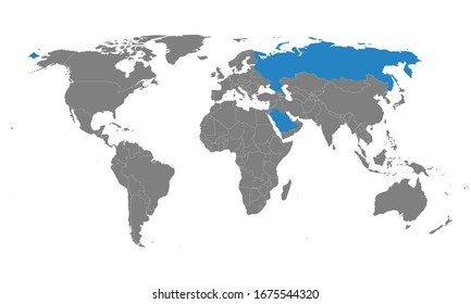 Saudi arabia, Russia countries highlighted on world map. Gray background. Perfect for Business concepts, backgrounds, backdrop, chart, label, sticker, banner, poster and wallpapers.