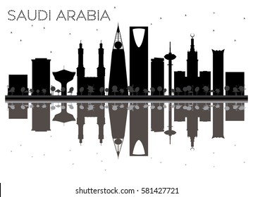 Saudi Arabia skyline black and white silhouette with reflections. Vector illustration. Simple flat concept for tourism presentation, banner, placard or web site. Cityscape with landmarks.