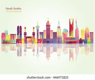 Saudi Arabia skyline detailed silhouette. Vector illustration