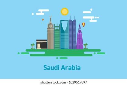 Saudi Arabia skyline - flat design - vector illustration