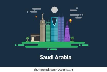 Saudi Arabia skyline - flat design - vector illustration- night - KSA