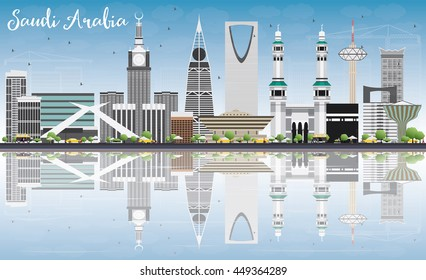 Saudi Arabia Skyline with Landmarks, Blue Sky and Reflections. Vector Illustration. Business Travel and Tourism Concept. Image for Presentation Banner Placard and Web Site.