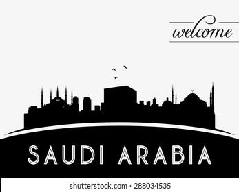 Saudi Arabia skyline silhouette black vector design on white background.